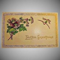 Vintage Art Deco Design Post Card - Embossed Easter Holiday Greetings Postcard