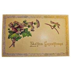 Embossed Easter Holiday Greetings Postcard -  Vintage Art Deco Design Post Card