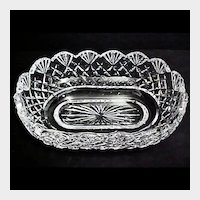 Irish Waterford Crystal Cut Glass Bowl - Emily Scalloped Pattern