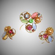 Vintage AUSTRIAN Crystal Rhinestone Brooch and Earrings Set - Demi Parure Jewelry
