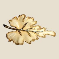 Vintage BSK Signed Leaf Brooch