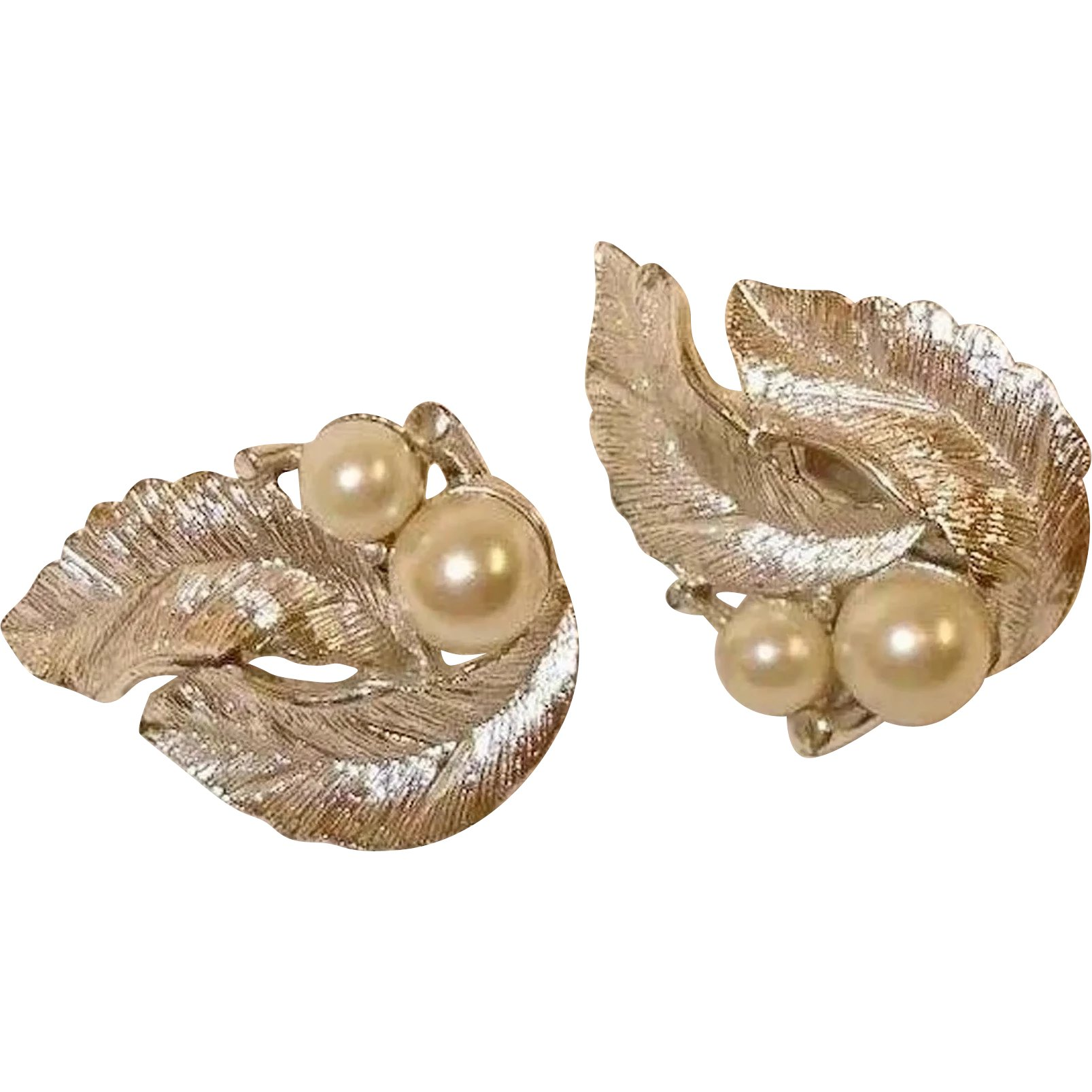 Vintage Retro Gold Tone Sarah Conentry Clip On Earrings Free Shipping Leaf Faux Pearl
