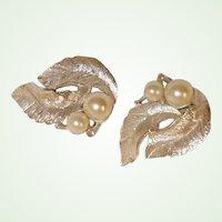 Vintage Sarah Coventry Faux Pearl Earrings -  Silvery Splendor Line of Sarah Cov