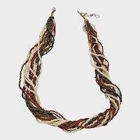 Vintage Seed Bead Torsade Multi Strand Necklace