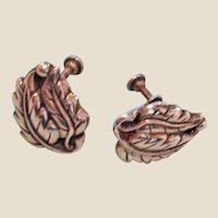 50% Off Sale ---Antique Petite Sterling Silver Leaf Earrings - Early Screw Back Earrings
