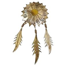 Vintage TAXCO Brooch - 3 Dangling Sterling Silver Feathers with Touches of Brass