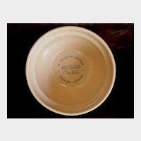 Yellow Ware Stoneware Advertising Bowl - Indianola Iowa - Metcalf Oil Co.- Old Crock Bowl