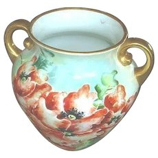 Antique Large Hand Painted Vase - Poppies Porcelain Vase -  Jardinière Jardiniere