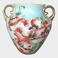 Antique Victorian Hand Painted Jardiniere - Poppies Porcelain Vase - Ex-Large Vase with Gold Gilt Trim - Jardinieres, Cache Pots, Vases, Urns