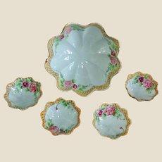 SALE - Antique Nippon 5 Piece  Bowl Set - Early Hand-Painted Porcelain - Ca. 1906