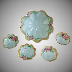 Antique Nippon 5 Piece Nut Bowl Set - Early Hand-Painted Porcelain - Ca. 1906