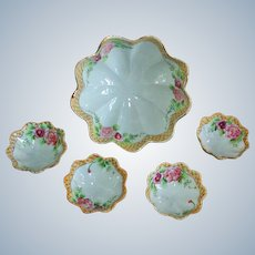 Antique Nippon 5 Piece  Bowl Set - Early Hand-Painted Porcelain - Ca. 1906