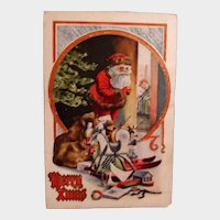 Vintage Santa Post card - Santa with a Bag of Toys - Christmas Greetings