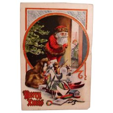 Vintage Santa Post card - Santa with a Bag of Toys - Christmas Greetings
