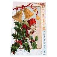 Vintage Old World Santa Claus Embossed Postcard - Santa Post Card