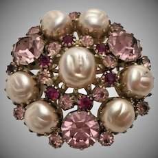 WEISS Faux Baroque Pearls and Pink Rhinestones Brooch Pin - Vintage Weiss Jewelry