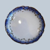Early 1900's Flow Blue Butter Pat or Salt Plate with Scalloped Edge - Mini Plate