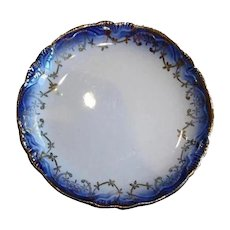 Antique Flow Blue Butter Pat with Scalloped Edge - Mini Plate - Salt Plate
