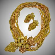 Vintage Hattie Carnegie Torsade Demi Parure - Necklace and Earrings Set