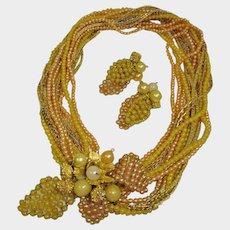 SALE -- Vintage Hattie Carnegie Torsade Demi Parure - Necklace and Earrings Set