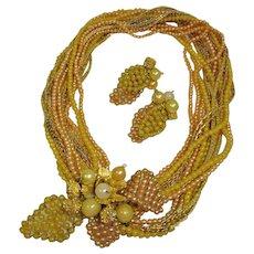 Vintage Hattie Carnegie Torsade Demi Parure - Necklace and Earrings Set
