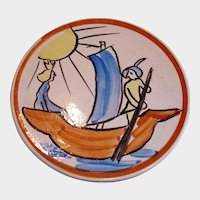 SALE -- Vintage Folk Art Plate / Plaque/ Plack - Hand Painted Pottery  - Made in Finland Wall Plate