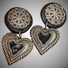 Vintage CLIP-ON Black and Pewter Heart Earrings - Heart Dangle Drop Earrings