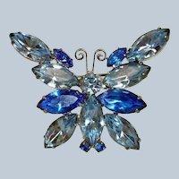 Vintage  D&E Blue Rhinestone Butterfly Brooch - Delizza & Elster Jewelry