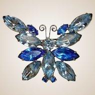 Vintage Blue Rhinestone Butterfly Brooch - Vintage Delizza & Elster Jewelry