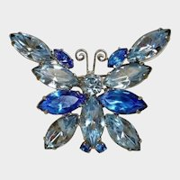 Vintage D and E Blue Rhinestone Butterfly Brooch - Delizza and Elster Jewelry - DeLizza and Elster (D and E) - Juliana