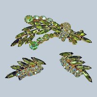 Juliana Brooch and Earrings - Delizza and Elster Demi Parure - Vintage Delizza & Elster