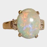 Stunning Vintage 18K White  Gold Australian Opal and Diamond Ring - Size 7