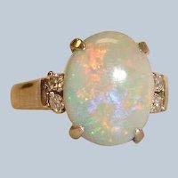 Vintage Australian Opal  and Diamond Ring - 18 Karat White Gold - Size 7