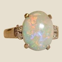 Vintage Australian Opal  and Diamond Ring - 18 Karat White Gold - Size 7