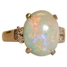 Estate  18K White Gold Australian Opal  and Diamond Ring -  Size 7