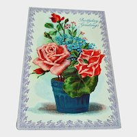 Vintage Birthday Greeting Postcard - Red Roses Post Card