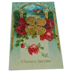 Antique Gold Four Leaf Clover  - Friendly Greeting - Postcard - 1913