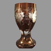 Stunning Egermann Deep Ruby Etched Glass Beaker Iridescent Sheen