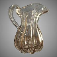 Rare Pillar Molded Pittsburgh Blown Glass Pitcher c.1860