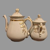 Rare signed H&C 1860 Ivy Wedding Coffee Pot Sugar Bowl