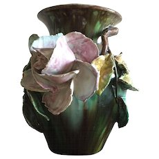Exquisite 19th C. French Barbotine Floral  Vase