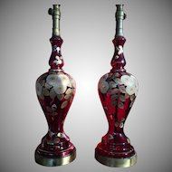 Antique Pair Tall Ruby Glass Hand painted Regency Lamps 1900's