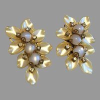 Vintage Pearlized Thermostat Cabochon Floral Earrings