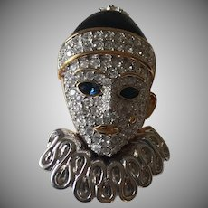 Stunning Swarovski Retired Clown Crystal Brooch Signed