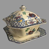 1916 Yuan Wood & Sons English Burslem Pottery Veg Tureen with Underplate