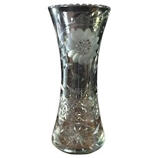 Stunning Tall ABP Cut Crystal Corset Vase Daisy with Leaves Geometric Band