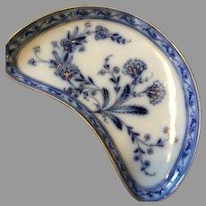 Stunning Flow Blue Large Bone Dish Signed P&M 2 Gilded Floral