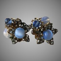 Haskell Horseshoe Signed Blue Moonstone, Cabochon, Rose Montee Flower Clip Earrings