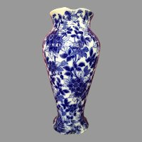 Flow Blue Porcelain Free Form Transferware Chinese Vase