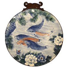 Signed Vintage Hand Painted Toyo Koi Plate With Lotus Flowers and Pine - Red Tag Sale Item